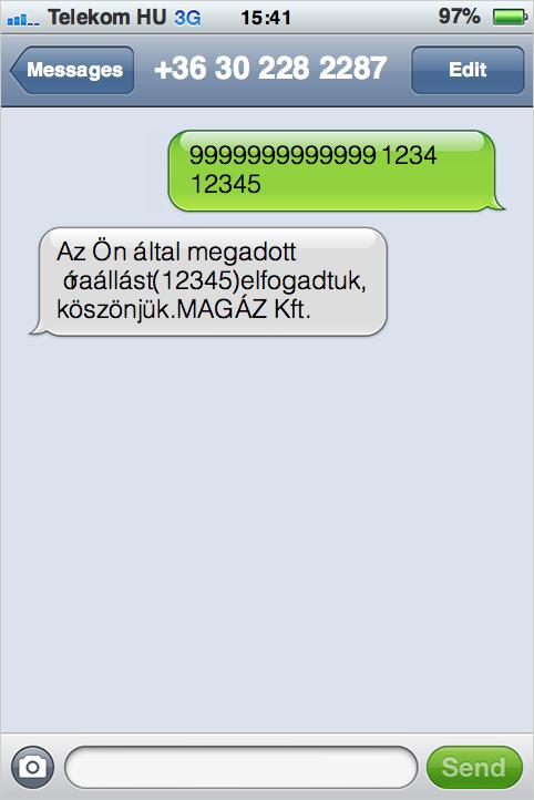 SMS mérőállás üzenet formátuma
